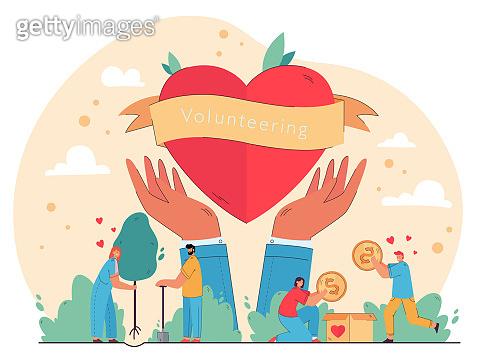 Happy people enjoying volunteering and giving help