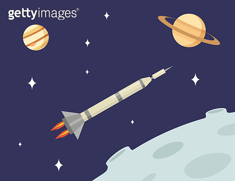 Rocket flying in open space among Moon, Saturn planets and stars