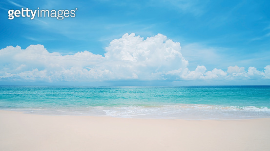 Beautiful tropical beach with blue sky and white clouds abstract texture background.