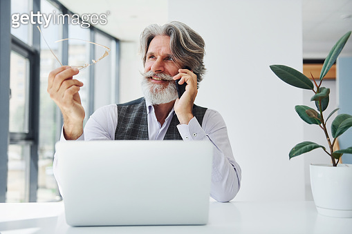 Boss in formal clothes works in office. Senior stylish modern man with grey hair and beard indoors