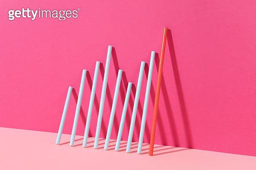 Finance Bar Graph on Pink Background