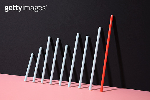Finance Bar Graph on Black and Pink Background