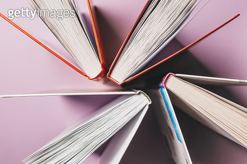 Open books on a pink background. Mock up with education and reading concept. Literature for learning, development and joy