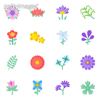Set of 16 Pixel Perfect Blooming Flowers Flat Icons