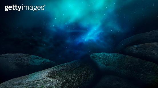 Futuristic underwater landscape, neon blue. Dark green water.  Depth of sea water, the bottom of the sea, the rays of the sun through the water, the underwater world, dark sea the background. 3D render.