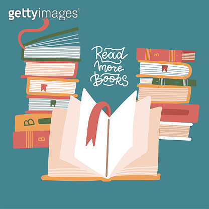 Stacks of books with open book. Knowledge, education, studying background. Vector flat illustration with lettering quote - Read more books.