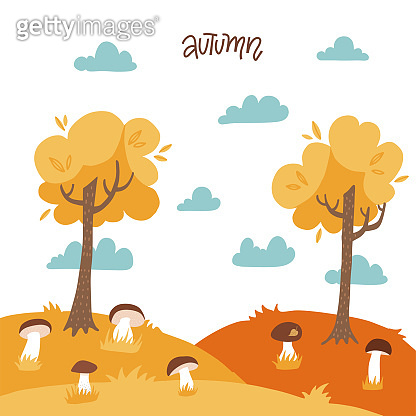 Autumn yellow landscape with trees, mushrooms, cloudy sky, Warm sunny Forest. Flat vector background. Season view, time of year