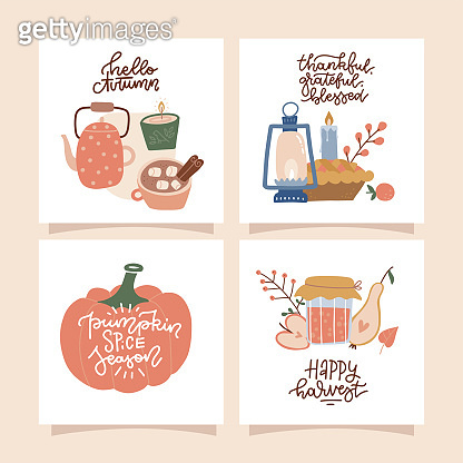 ASet of 4 square Posters with autumn cozy elements and hand lettering quotes. Trendy color palette and linear calligraphy. Cute fall scenes.