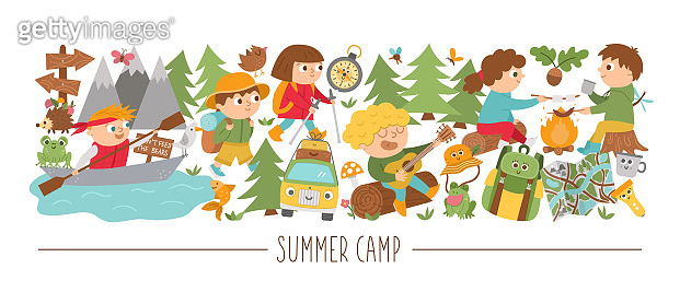 Vector horizontal set with cute comic forest animals and children doing summer camp activities. Card template design with woodland characters and kids on holidays. Funny active trip border.
