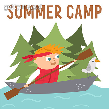 Summer camp card with cute kid doing camping activity. Vector square print template with rafting child in a boat with seagull. Active holidays or local tourism design for postcards, ads