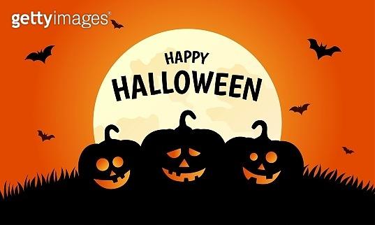 Happy halloween pumpkins on orange background. vector illustration.