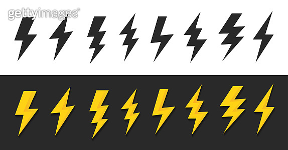 Set lightning bolt or thunder icons set. Vector illustration set