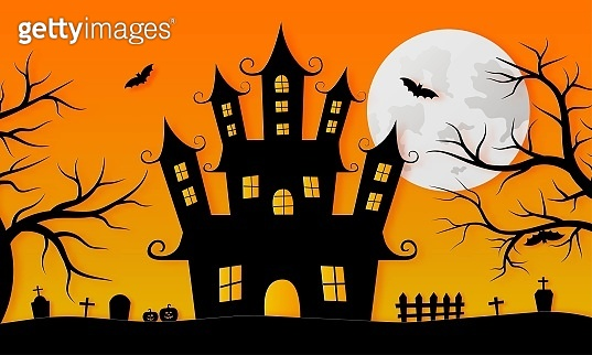 Happy Halloween haunted house and full moon paper art style on orange background. vector illustration.