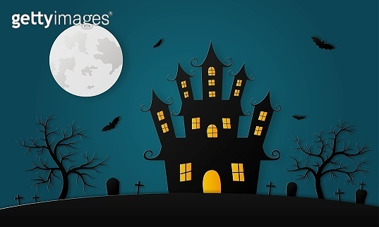 Happy Halloween haunted house and full moon paper art style on blue background. vector illustration.