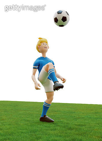 Soccer player with cartoon look is juggling soccer ball on grass field