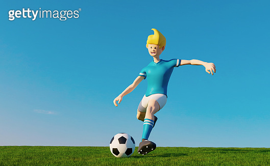 Cartoon soccer player gets ready to kicks ball on grass field