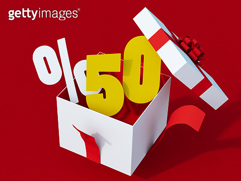 %50 Percentage Sale Sign with Gift Box