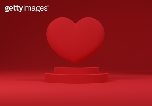 3d heart floating over a penalty on a red background