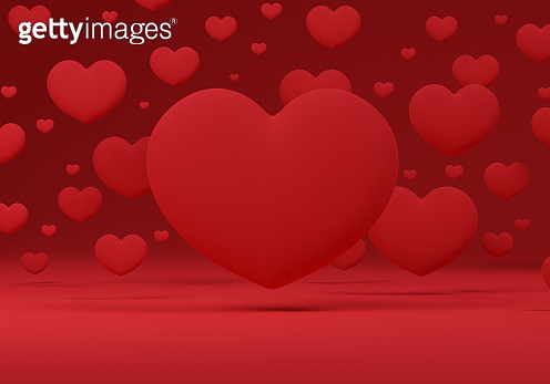 3d hearts floating on a red background.3D Illustration.