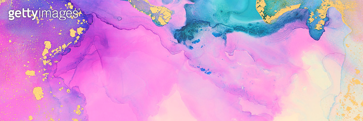 art photography of abstract fluid art painting with alcohol ink, blue, pink, purple and gold colors