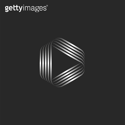 Triangle shape logo or creative play icon, weaving thin metallic gradient lines, striped pattern.