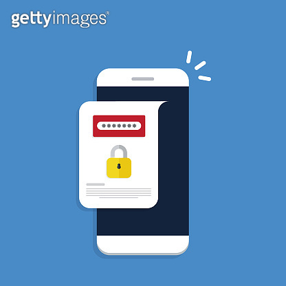 Unlocked notification button and password field on a mobile phone. Smartphone security concept.
