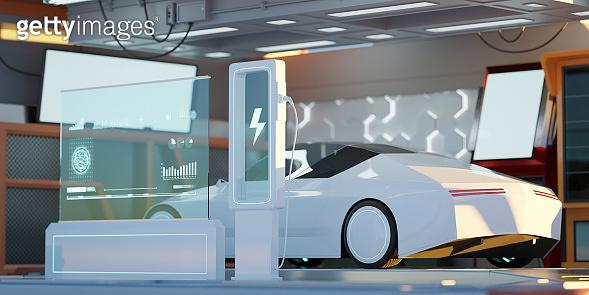 Closeup Electric car at futuristic  charging station.3D rendering.