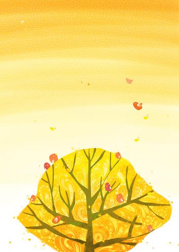 가을 수채화 백그라운드