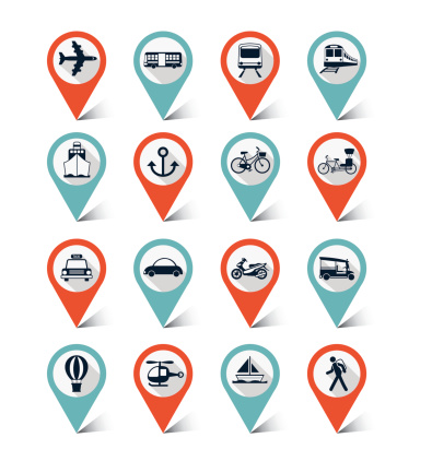 Map markers icons set