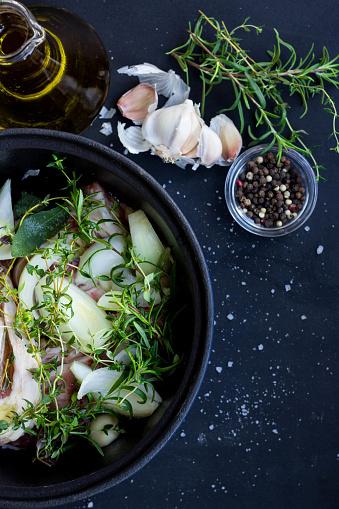 Fresh Herbs, Garlic, Pepper