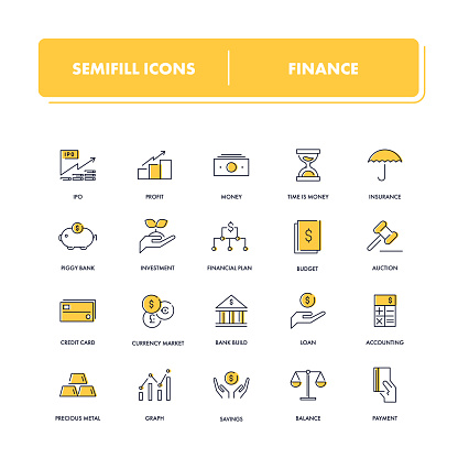 Yellow line Icon set