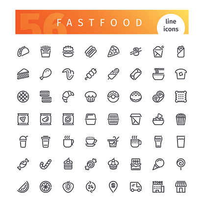 Food - line icons set