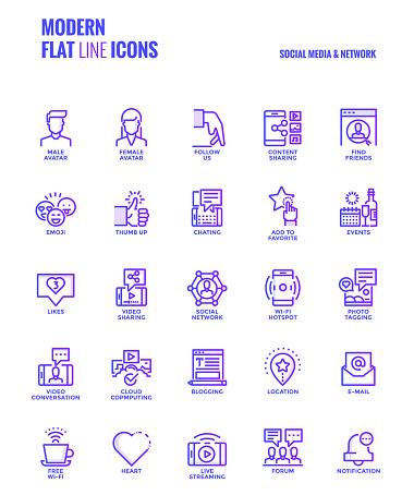 Gradient flat line icons