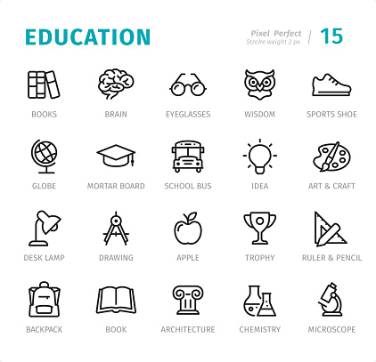 Education - Pixel Perfect line icons with captions