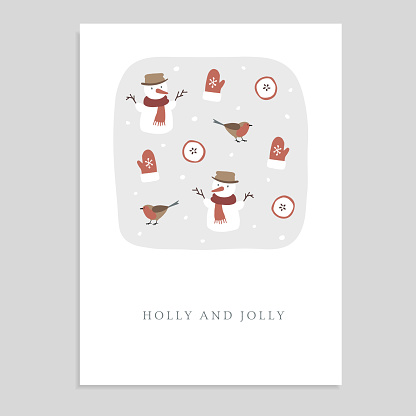 Cute Holly and Jolly Christmas greeting card, invitation with snowmen, finch birds, glowes, sliced apples and falling snow. Hand drawn kids nordic design. Vector illustration background.