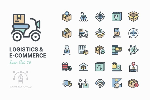 Line icons - Logistics & e-connerce