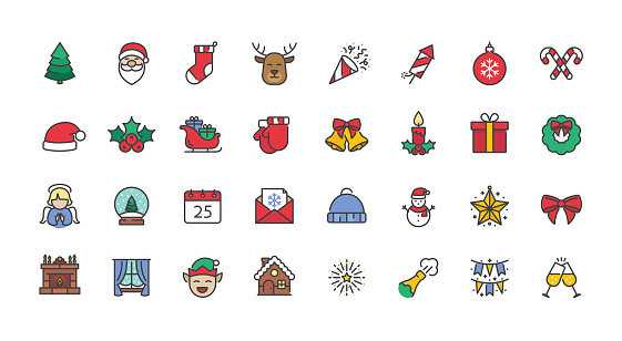 Set of Christmas and New Year icons in filled outline style.