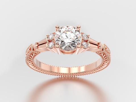 3D illustration diamond with ornament
