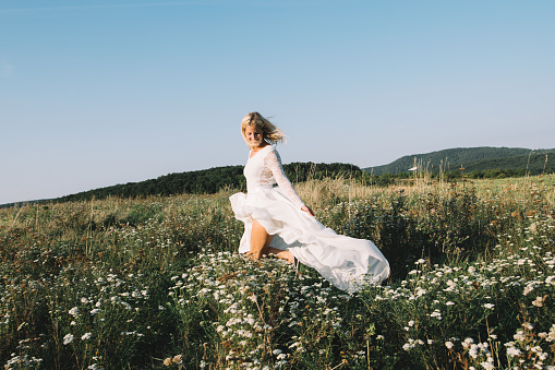 beautiful bride outdoors in nature