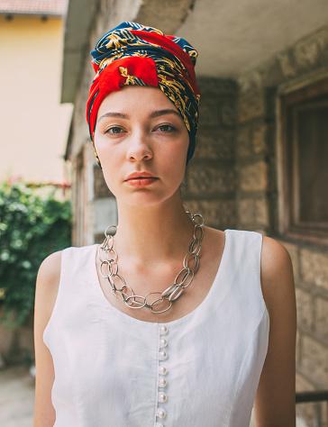 Pretty woman with colored turban