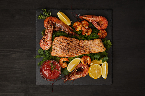 top view of grilled salmon steak
