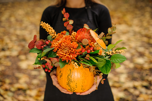 Pumpkin with flowers