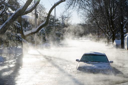 Car stuck in ice