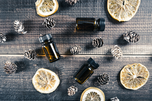 Aromatherapy, bottles with oil