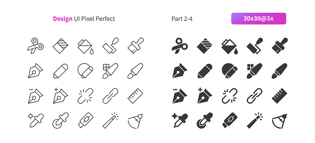 Graphic Design UI Pixel Perfect Well-crafted Vector Thin Line And Solid Icons 30 3x Grid for Web Graphics and Apps. Simple Minimal Pictogram Part 2-4
