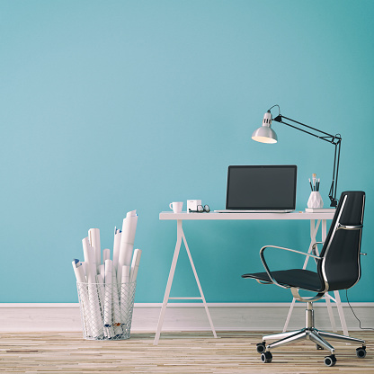 Workdesk with decoration