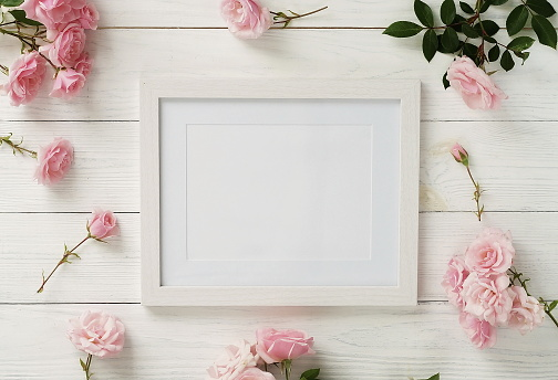 Pink roses, Gift, Wood, Background