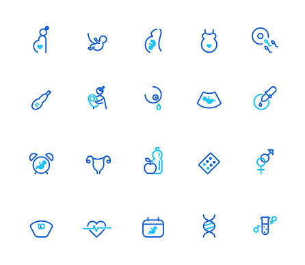 Duo tone round line icon set