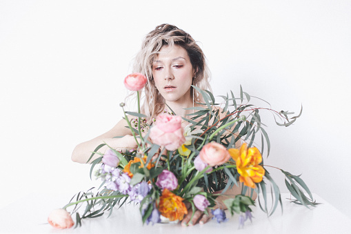 Flowers and a woman