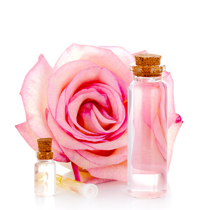 cosmetic products & pink rose